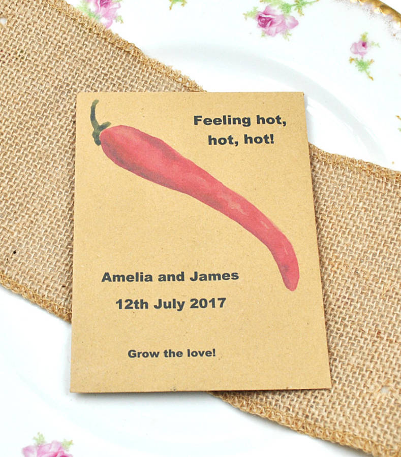 Chilli wedding favour. Feeling hot - chilli wedding favour idea. Recycled seed packet containing chilli seeds. Chilli wedding favour