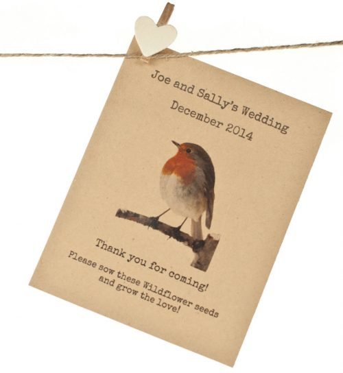 Robin wedding favour seed packet, ideal for a winter or Christmas wedding