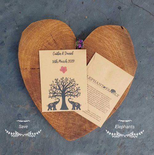 Elephant family charity wedding favours