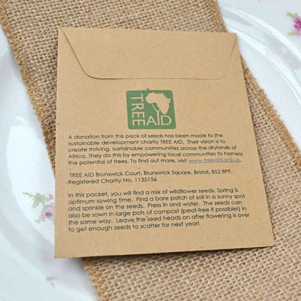 Sowing instructions for Tree Aid charity wedding favour seed packet