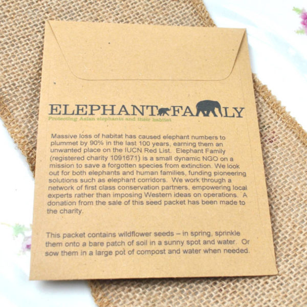 Reverse of Elephant Family seed packet wedding favour
