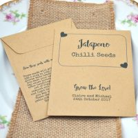 Jalapeno chilli seeds wedding favour, personalised with your wedding details