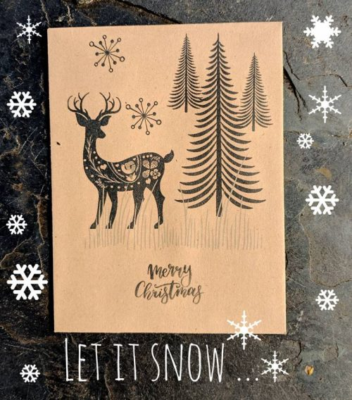 Deer seed packet Christmas card