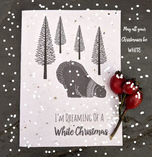 Polar bear seed paper christmas card