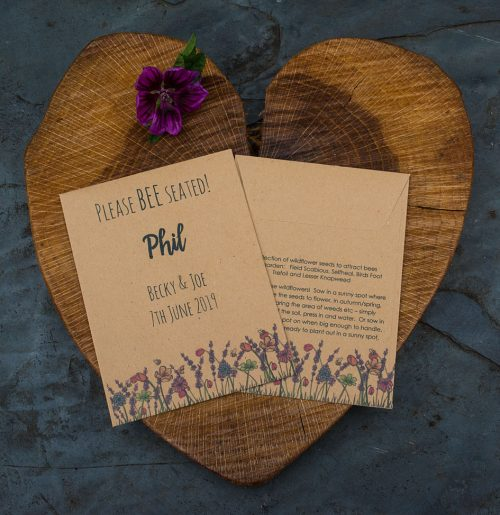 Please bee seated meadow seed packet wedding favour and place setting