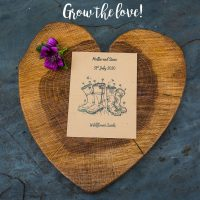 Wellies seed packet wedding favour