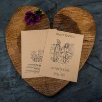 Bespoke seed packet wedding favour featuring the happy coupled