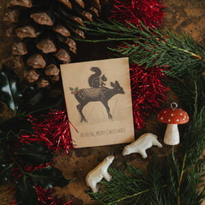 Seed packet Christmas cards with squirrel and deer