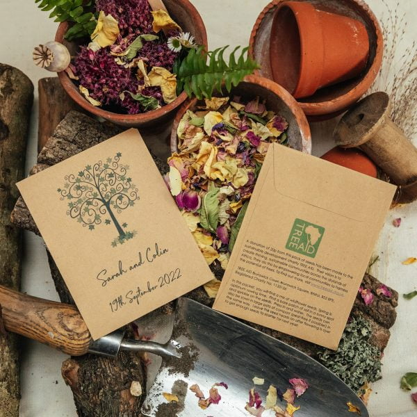 Tree Aid charity seed packet wedding favour