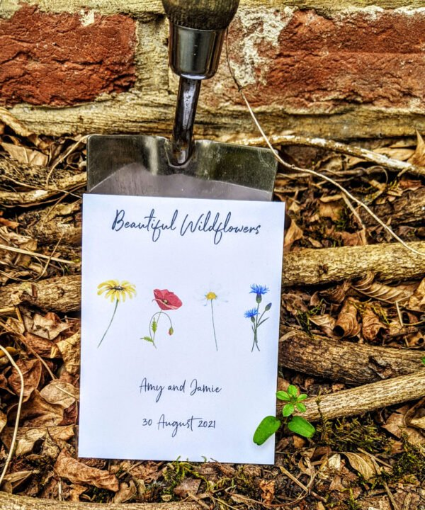 Beautiful wildflowers seed packet wedding favour
