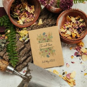Colourful seed packet wedding favour