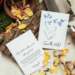Save the date forget-me-not-seed packet