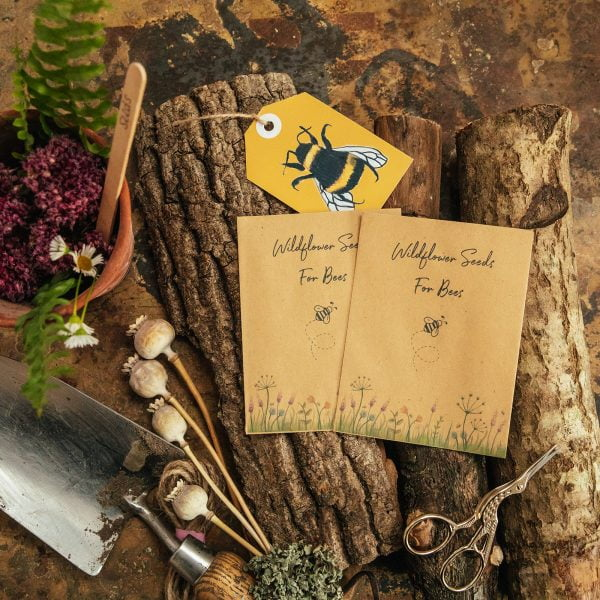 Wildflower seeds for bees brown packets