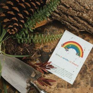 Rainbow seed paper postcard