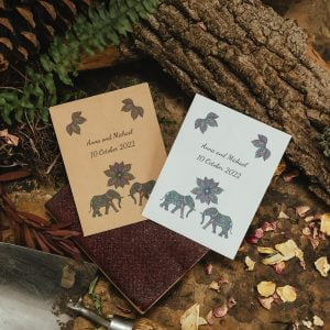 Elephants seed packet wedding favour