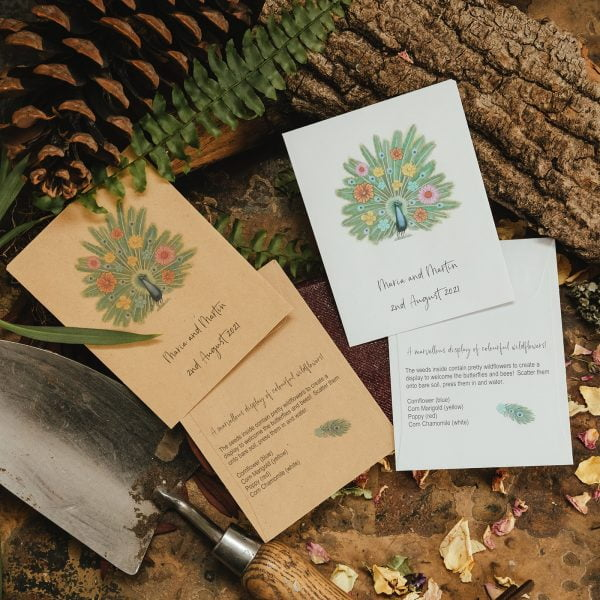 Peacock seed packet wedding favour