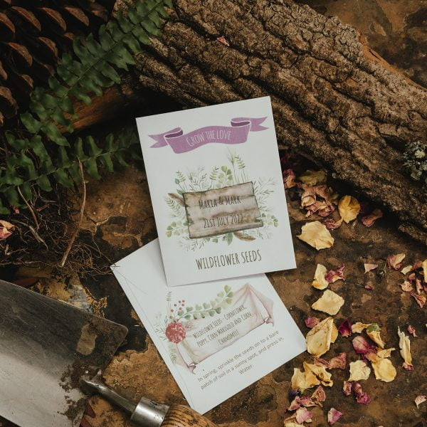 Rustic seed packet wedding favour white
