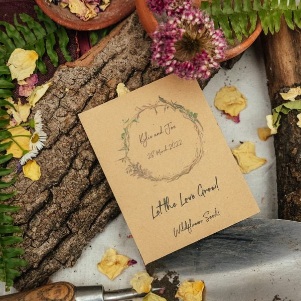 Let the love grow seed packet wedding favour