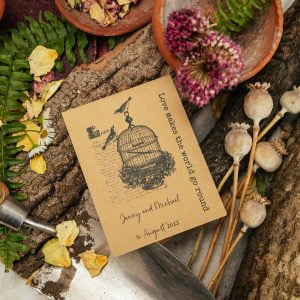 Vintage seed packet wedding favour