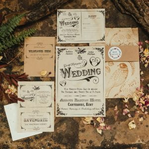 Vintage wedding invite set with seeds