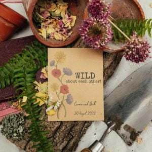 Wild about each other seed packet wedding favour